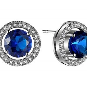 Simulated sapphire and CZ earrings